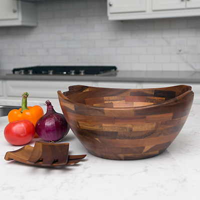 PICNIC TIME<sup>&reg;</sup> Fabio Viviani™ Mescolare Salad Bowl Set - Beautiful oversized acacia salad bowl includes two contoured serving tossing tools that can be stored flush inside the bowl.