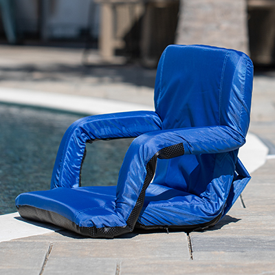 PICNIC TIME<sup>&reg;</sup> Ventura Backpack Stadium Seat - This stadium seat serves as a portable recreational recliner with armrests and backpack straps to take anywhere.  In addition, it's filled with high-density foam, which provides firmness for comfort. Features include six backrest positions, padded armrests, adjustable backpack straps, water-resistant reinforced bottom, and the ability to fold flat for easy storage and transportation.  Measures: 20&quot; x 2&quot; x 32&quot;.